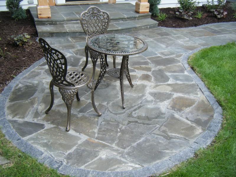Irregular Bluestone Patio And Granite Stone Edging ...