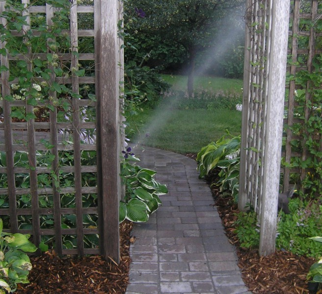 Landscaping With Trellis : The arbor with trellis shade garden plants accent brick sidewalk