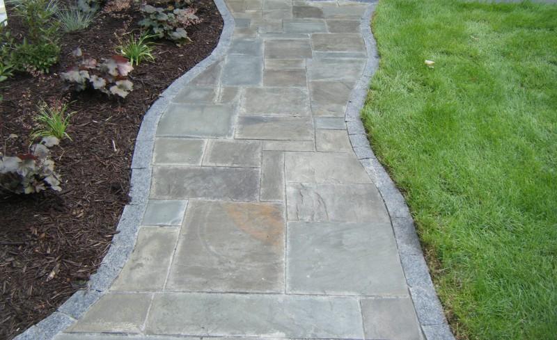 Blue Stone Sidewalk With Granite Edgine